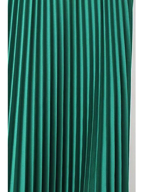 sale Solid Color High Waist Pleated Skirt - BLACK L Mobile