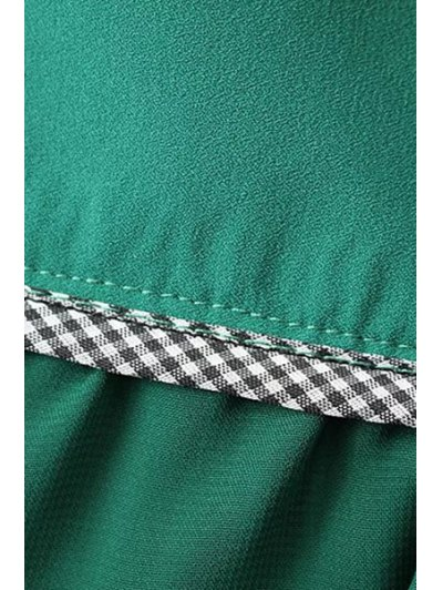 Solid Color High Waist Pleated Skirt - GREEN L Mobile