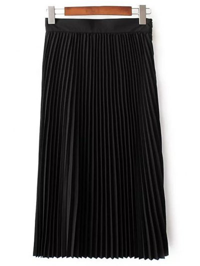 Solid Color High Waist Pleated Skirt - BLACK S Mobile