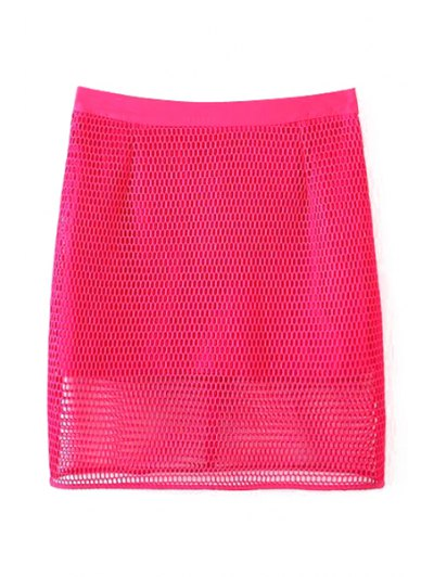 Solid Color High Waisted Mesh Skirt - ROSE M Mobile