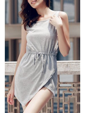 Gray Round Neck Sleeveless Bodycon Sundress - Gray
