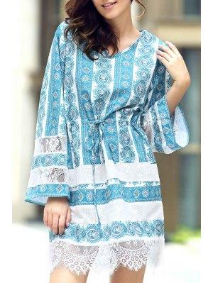Loose Lace Spliced V Neck Flare Sleeve Dress - Azure