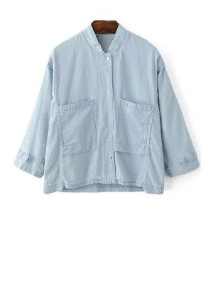 Loose Pockets Stand Collar 3/4 Sleeve Denim Shirt - Light Blue