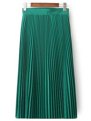 Solid Color High Waist Pleated Skirt - Green