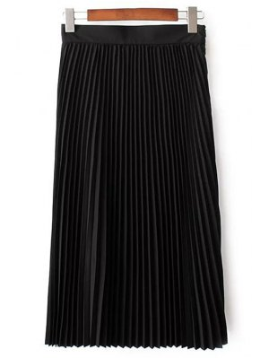 Solid Color High Waist Pleated Skirt - Black