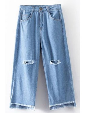 Broken Hole High Waist Wide Leg Jeans - Light Blue