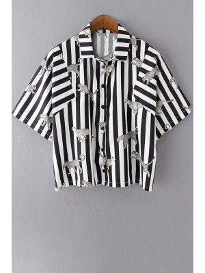 Striped Shirt Collar Half Sleeve Shirt - White And Black