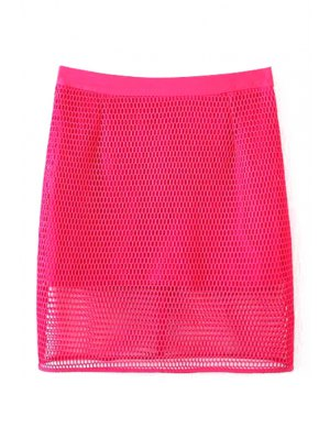 Solid Color High Waisted Mesh Skirt - Rose