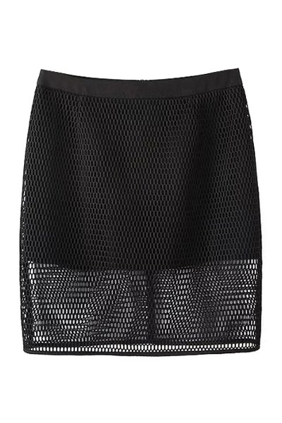 High Waisted Solid Color Mesh Skirt