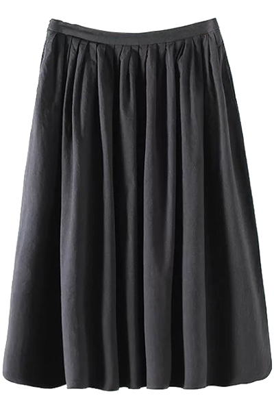 High Waist A-Line Solid Color Pleated Skirt
