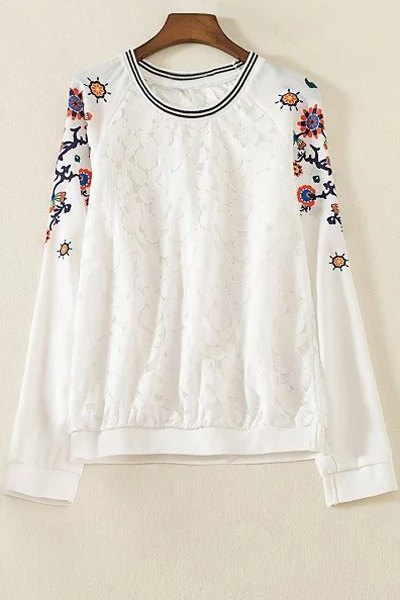 Lace Spliced Printed Round Neck Long Sleeve T Shirt 176482602