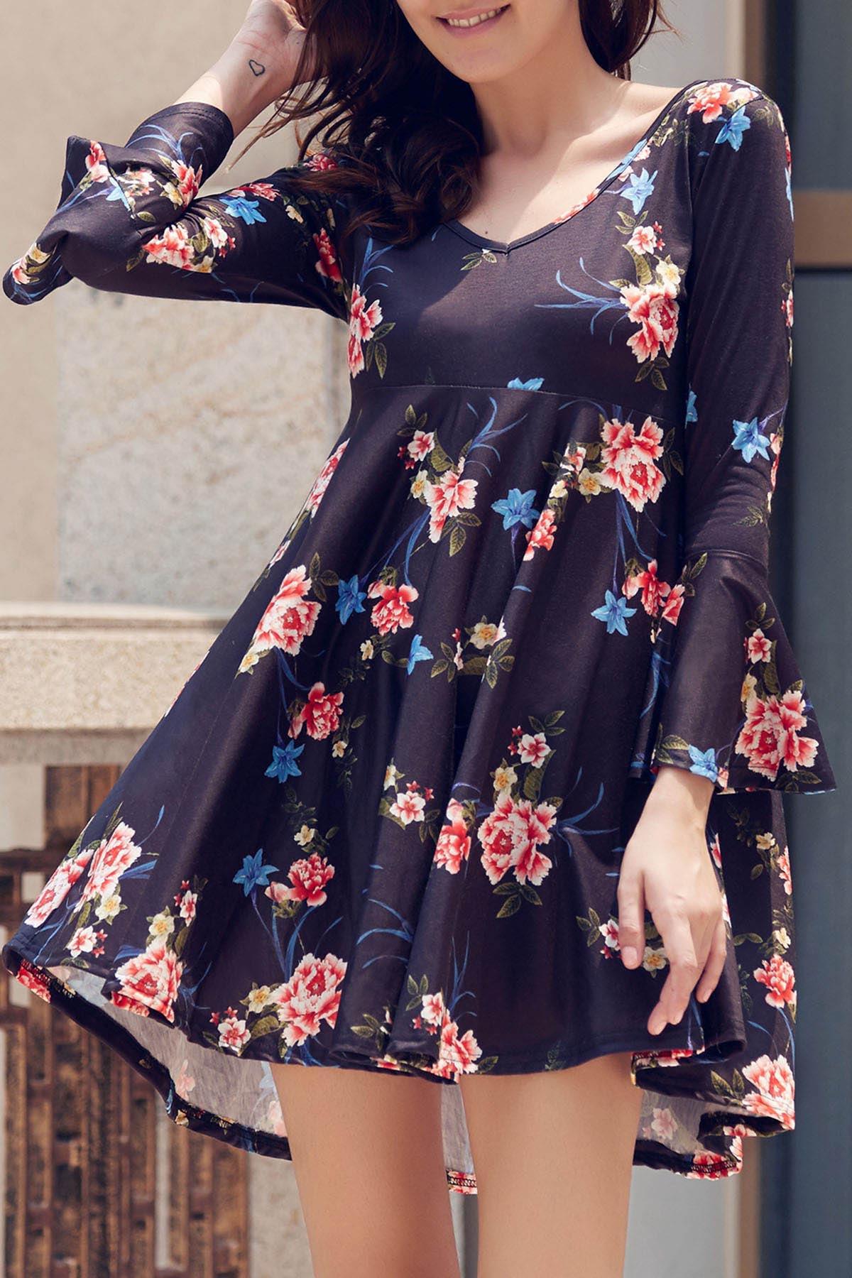 V-Neck Long Sleeve Flower Print Dress