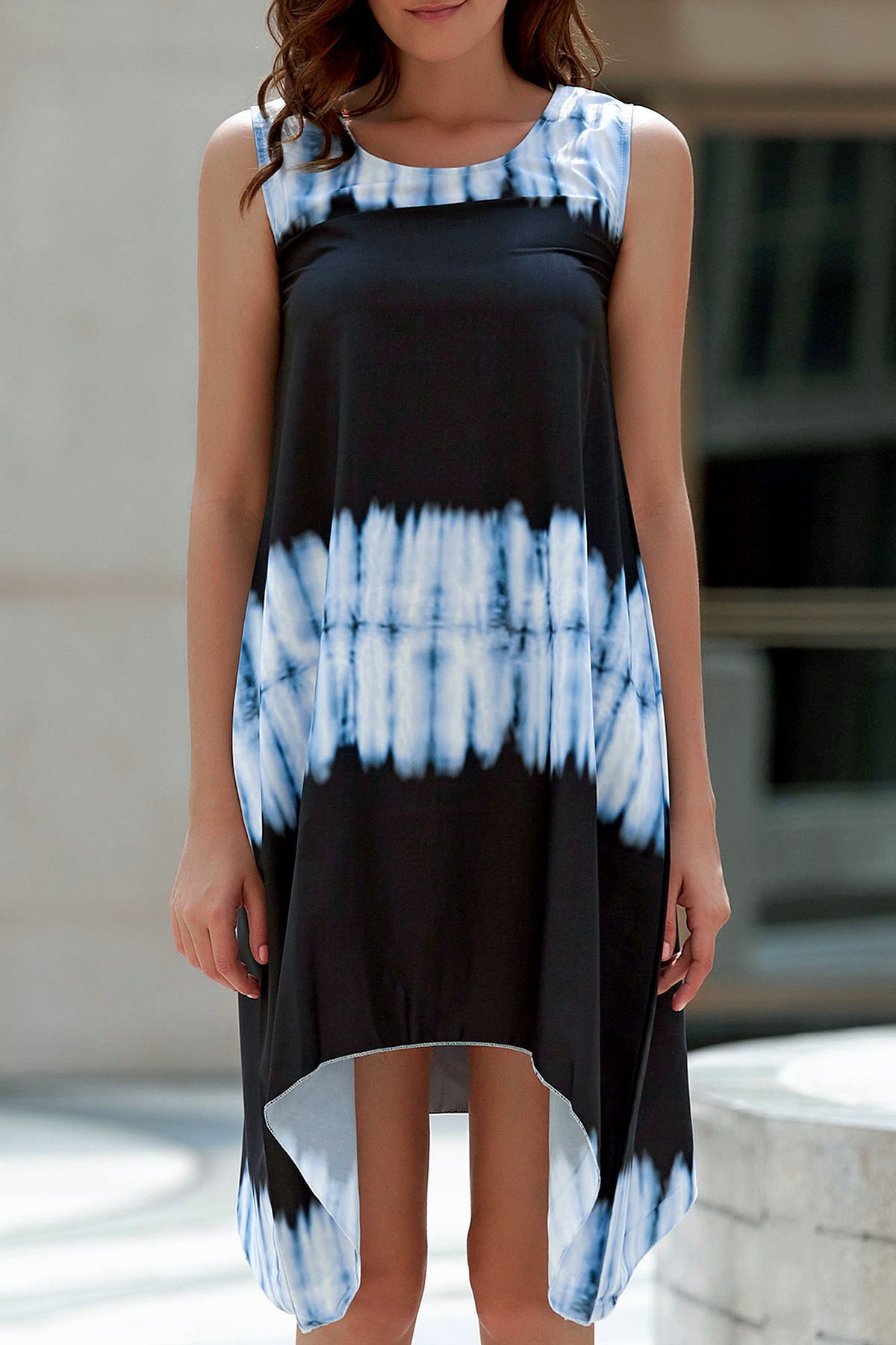 Tie-Dyed Irregular Hem Tank Dress