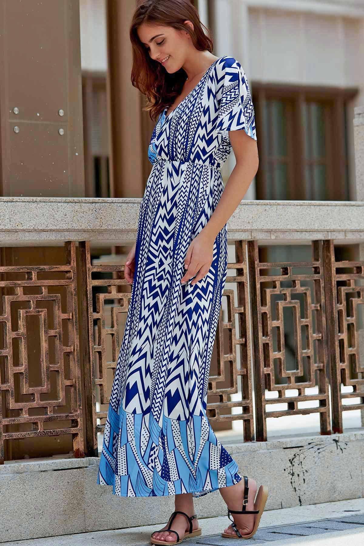 Plunging Neck Short Sleeve Zig Zag Print Maxi Dress