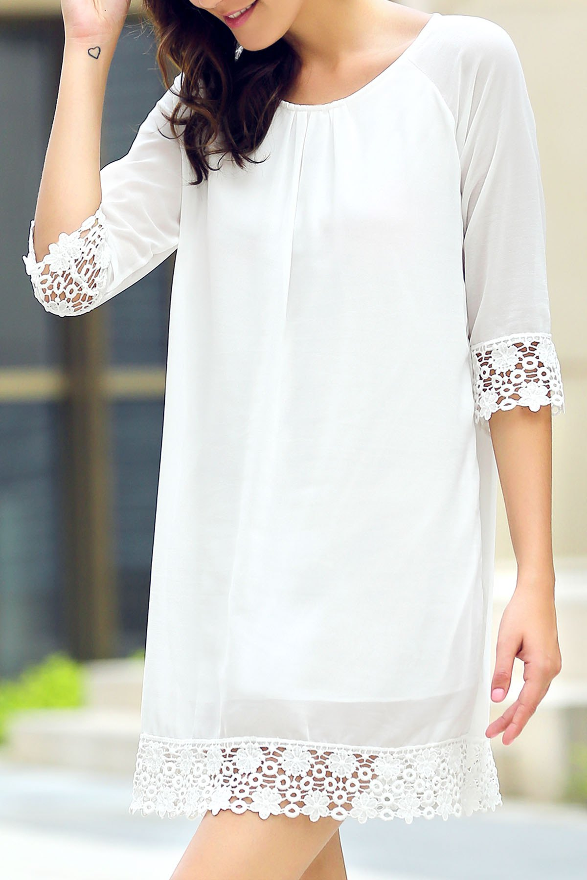 Round Neck Half Sleeve Lace Hem Chiffon Dress