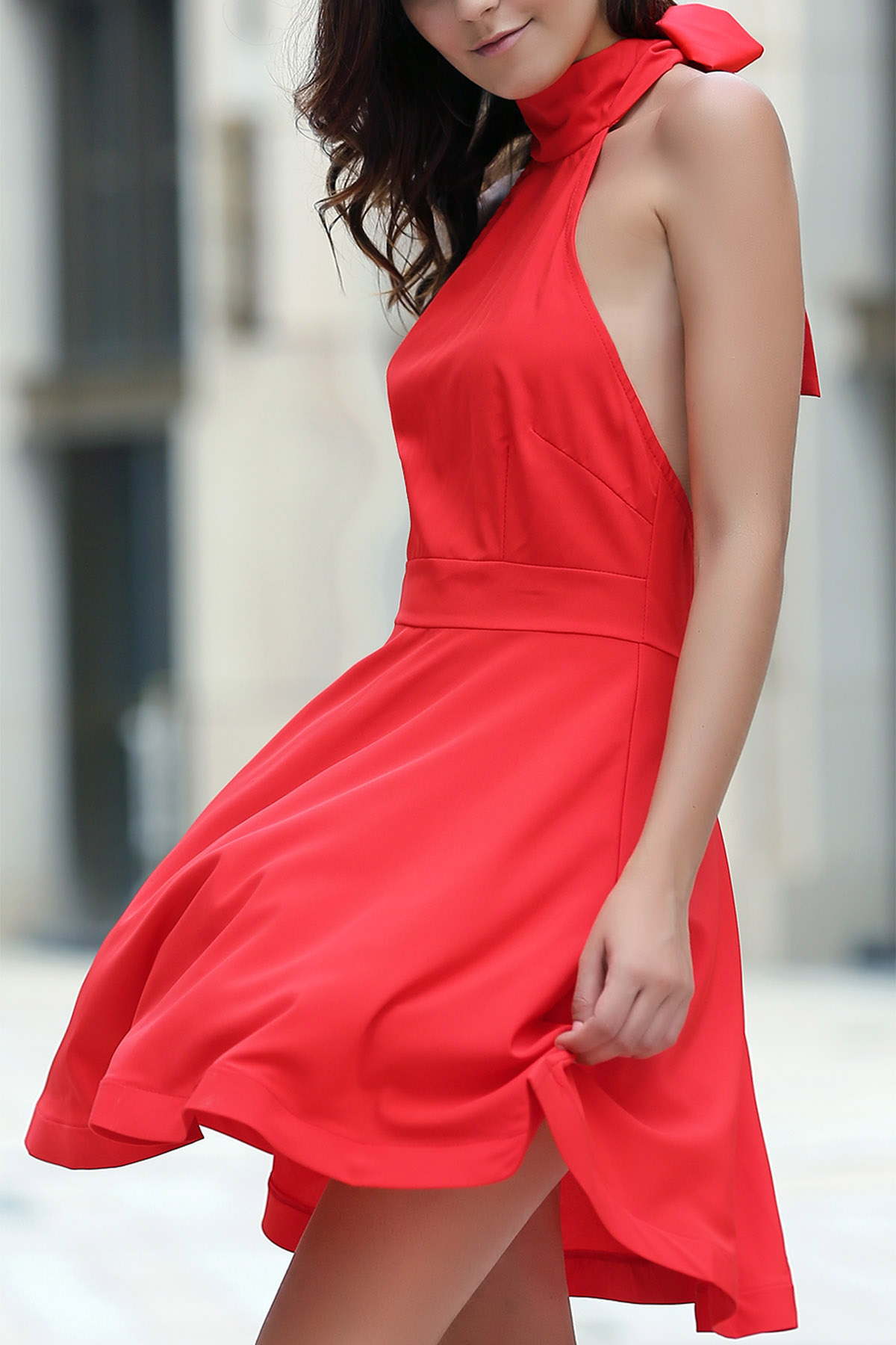 Halter Sleeveless Red Open Back Dress
