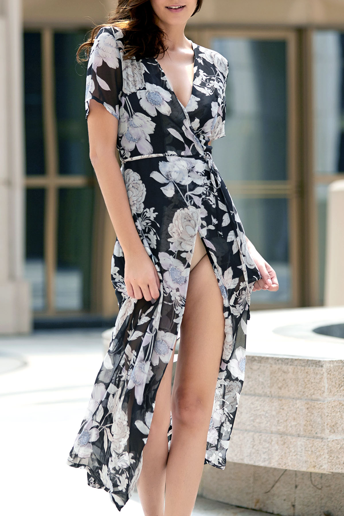 Plunging Neck Short Sleeve Flower Print High Slit Dress