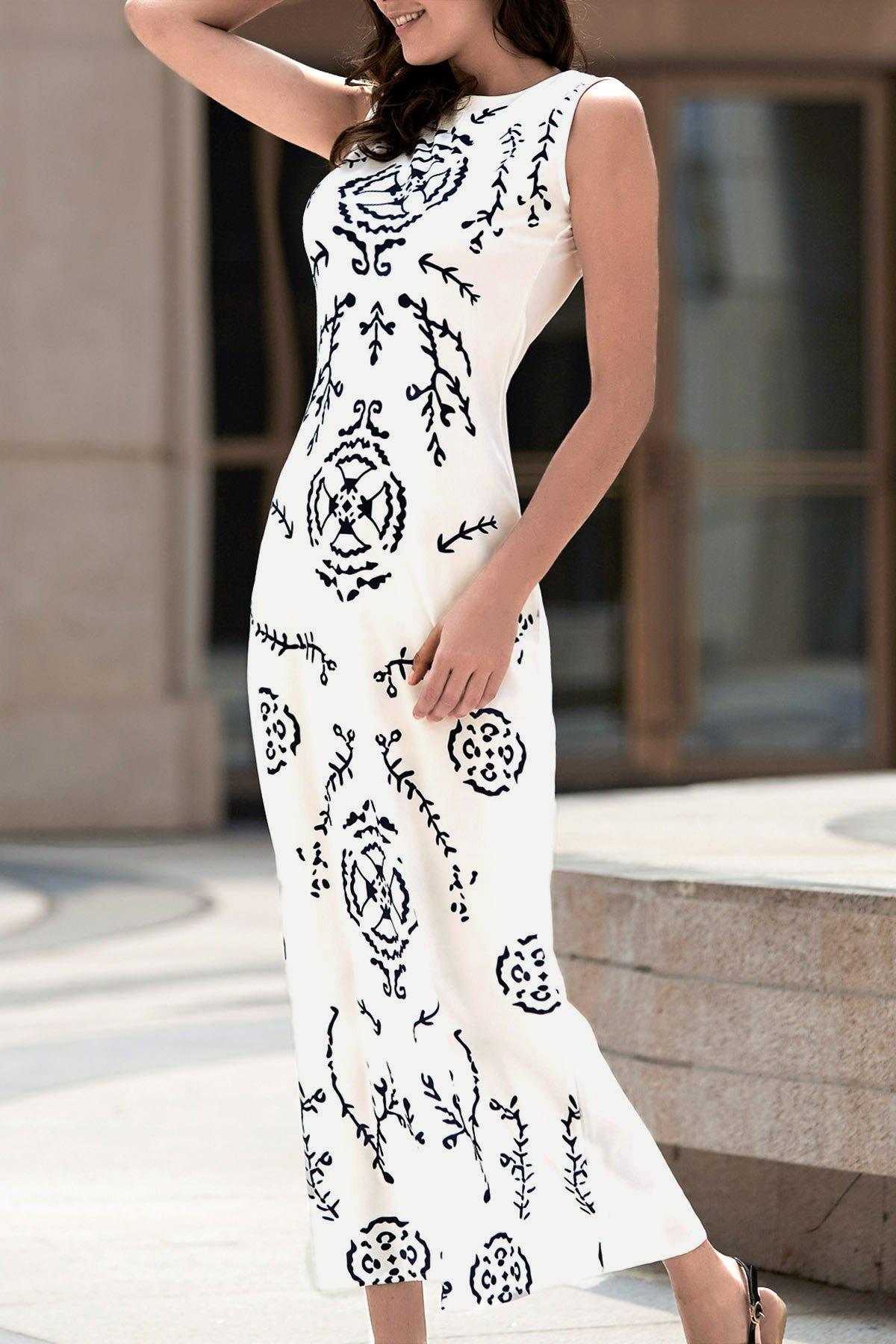 Digital Print White Long Dress