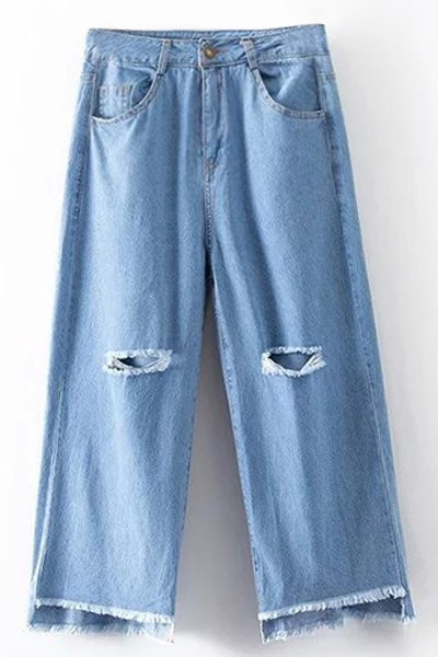 High Waist Broken Hole Wide Leg Jeans