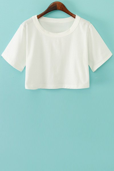 Round Neck Short Sleeve Solid Color Crop Top
