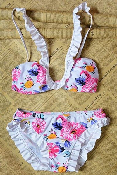 Floral Print Frilled Bikini Set