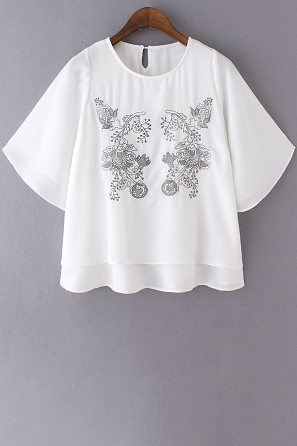 Embroidery Round Collar Double-Layered BlouseClothes<br><br><br>Size: M<br>Color: WHITE