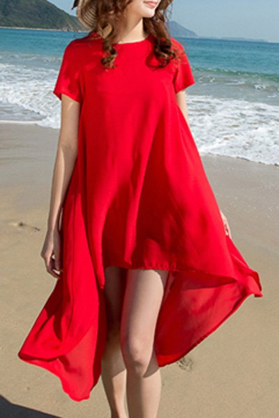 Round Collar Short Sleeve High Low Hem Dress
