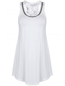Lace Spliced Rhinestone Round Neck Tank Top