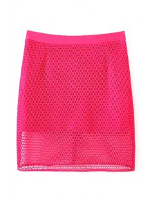 Solid Color High Waisted Mesh Skirt