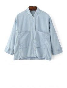 Loose Pockets Stand Collar 3/4 Sleeve Denim Shirt - Light Blue M