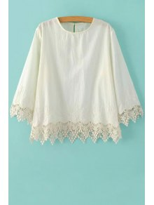 Embroidery Lace Spliced Round Neck 3/4 Sleeve Blouse