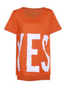 YES Print High Low T-Shirt