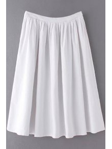 Solid Color High Waist A-Line Pleated Skirt