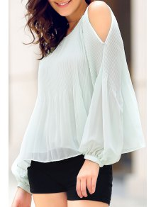 Solid Color Round Neck Lantern Cold Shoulder Blouse