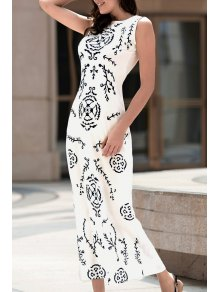 Digital Print White Long Dress