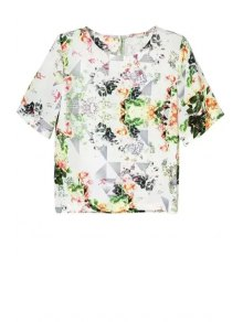 Flower Print Round Neck Short Sleeve T-Shirt