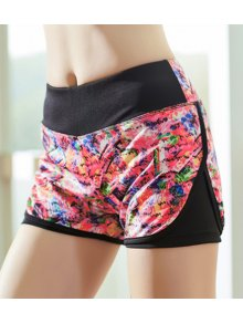 Printed Faux Layered Workout Shorts