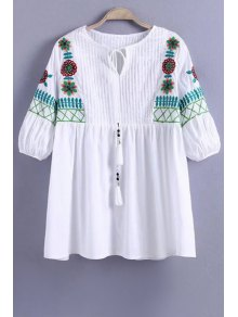Floral Embroidery Half Sleeve Pleated Blouse