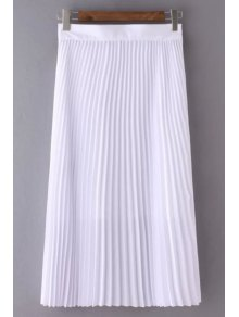 Solid Color High Waist Pleated Skirt - White L