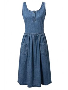 Fitting Pockets Scoop Neck Sleeveless Denim Dress