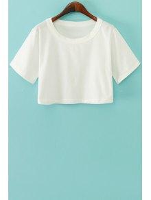 Camisa Corta Sólida De Color De Manga Corta - Blanco