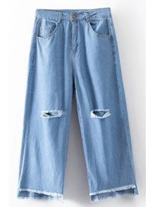 Broken Hole High Waist Wide Leg Jeans - Light Blue M