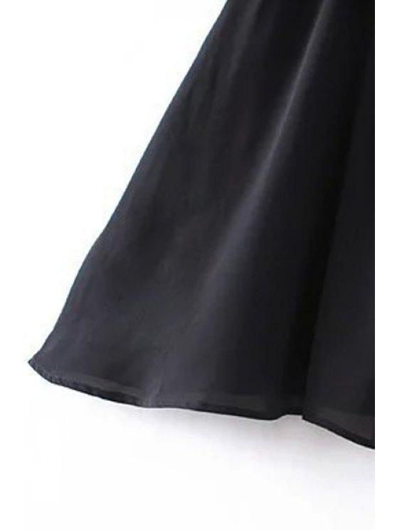 Tassel Cold Shoulder Popover Overlay Slip Dress - BLACK L Mobile