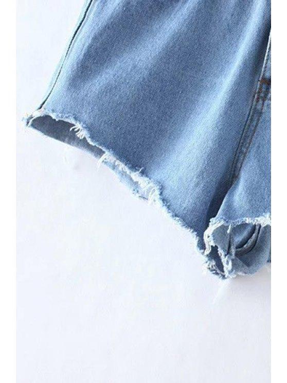 Bleach Wash Cutoffs Denim Shorts - LIGHT BLUE L Mobile