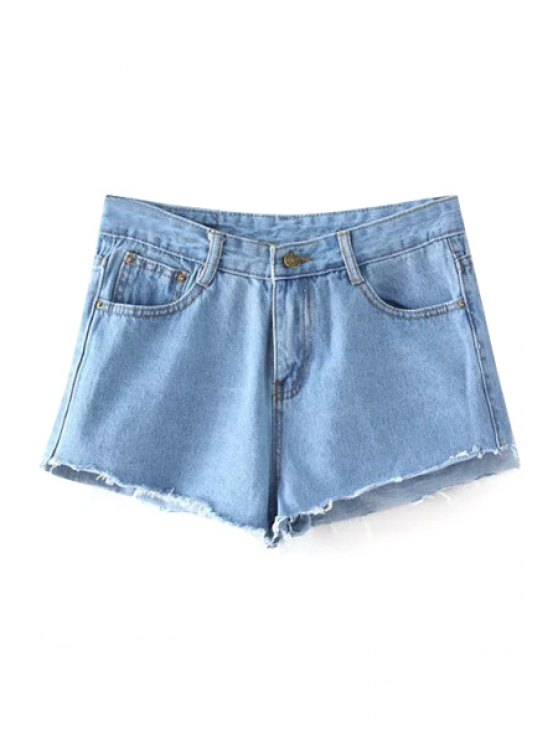 affordable Bleach Wash Cutoffs Denim Shorts - LIGHT BLUE L