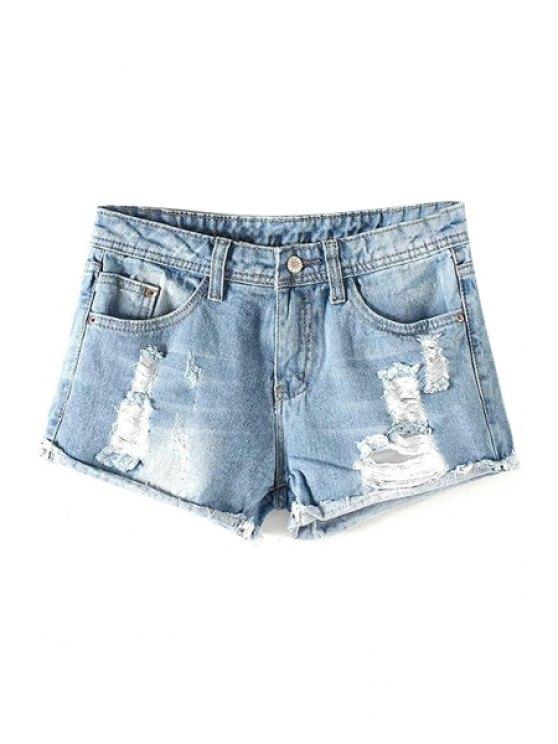 fashion Broken Hole Hemming Mid-Waist Denim Shorts - LIGHT BLUE M