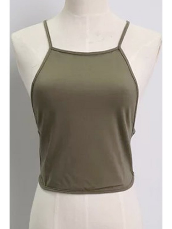 Solid Color Backless Spaghetti Straps Tank Top - ARMY GREEN ONE SIZE(FIT SIZE XS TO M) Mobile
