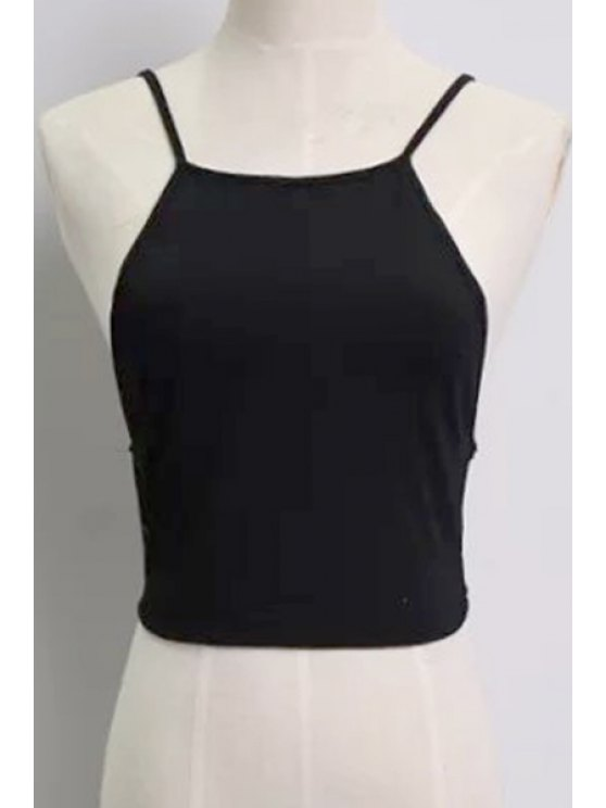 womens Solid Color Backless Spaghetti Straps Tank Top - BLACK ONE SIZE(FIT SIZE XS TO M)