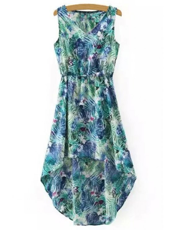 Hawaiian Leaf Print High-Low V Neck Sleeveless Dress - GREEN S Mobile