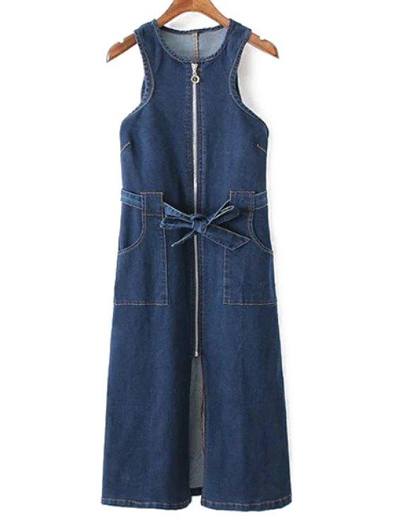 Bolsillos con cremallera cuello redondo sin mangas vestido de dril de algodón - Marina de Guerra M